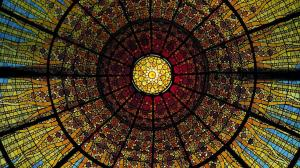 Stained-glass ceiling of the Palau de la Musica Catalana, Barcelona, Spain 20130621