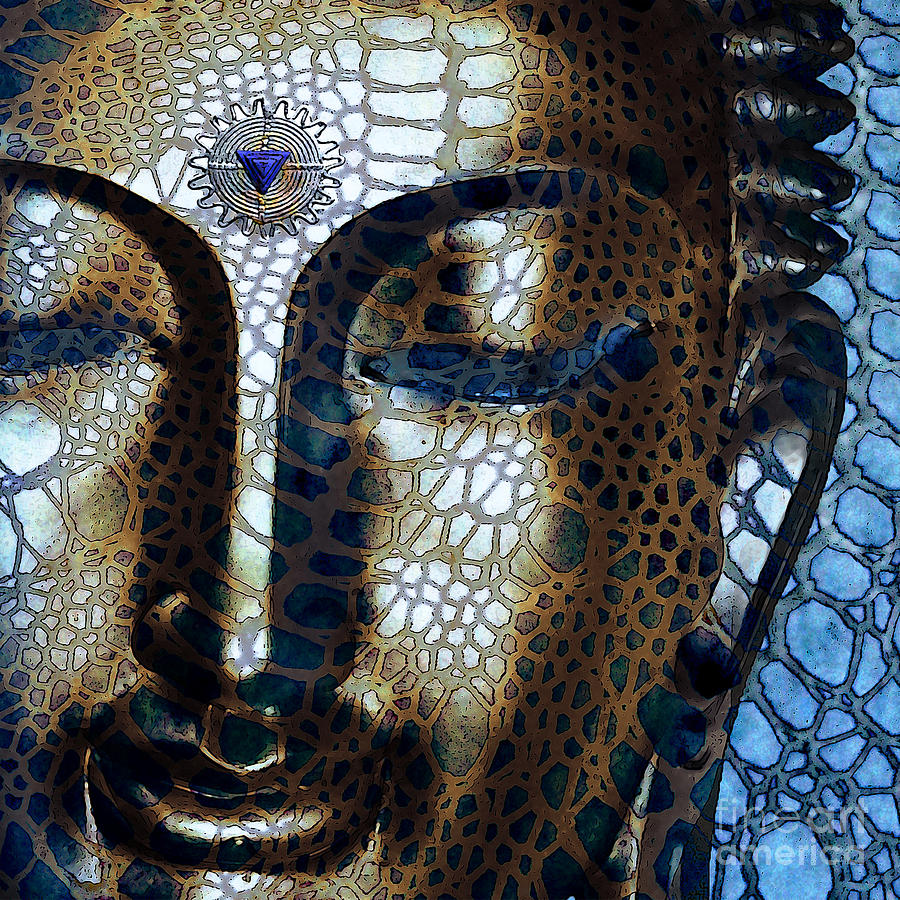 web-of-dharma-modern-blue-buddha-art-christopher-beikmann