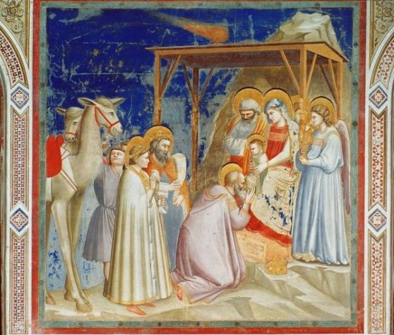 GIOTTO: ADORATION. Adoration of the Magi. Fresco, c1305, from the Scrovegni Chapel, Padua, by Giotto.